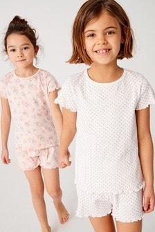 Floral/Spot Short Pyjamas Two Pack (3-16yrs)