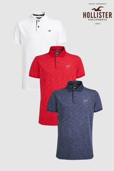 Hollister White/Red/Navy Poloshirts Three Pack
