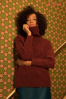 Finery London Red Magnolia Roll Neck Jumper