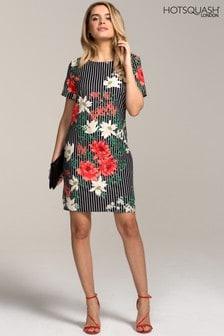 HotSquash Pin Striped Floral Rivera Print Shift Dress