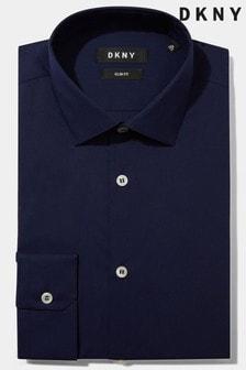 DKNY Slim Fit Navy Single Cuff Stretch Shirt