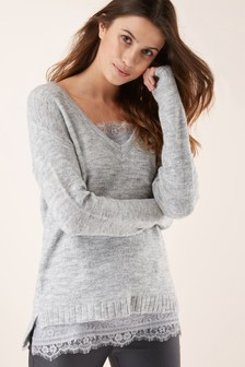 Lace Cami Layer Sweater