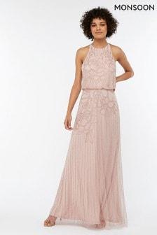 Monsoon Ladies Pink Bianca Embellished Maxi Dress