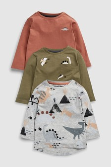 Long Sleeve Dino T-Shirts Three Pack (3mths-7yrs)