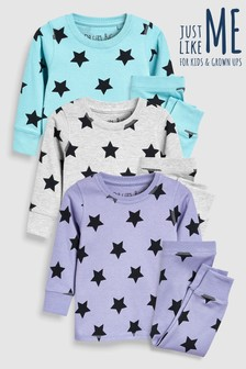 Matching Family Kids Star Snuggle Fit Pyjamas Three Pack (9mths-8yrs)