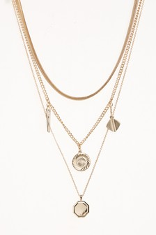 Two Layer Coin Detail Necklace