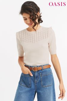 Oasis Neutral Pointelle Frill Jumper