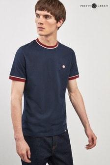 Pretty Green Navy Ringer T-Shirt