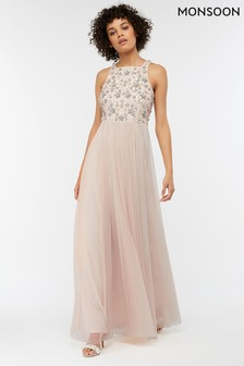 Monsoon Nude Constance Sequin Embellished Maxi Dress