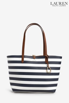 Polo Ralph Lauren Navy Reversible Leather Tote Bag