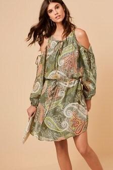 Paisley Pattern Cold Shoulder Dress