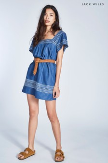 Jack Wills Mid Indigo Heatherington Embroidered Dress