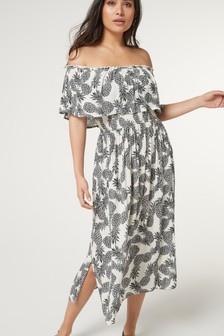 Matching Family Womens Pineapple Print Off The Shoulder Dress