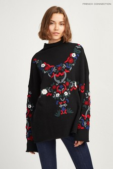 French Connection Black Embroidered Jumper