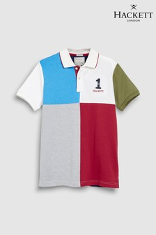 Hackett Kids Number 1 Navy And Burgundy Quad Short Sleeve Polo