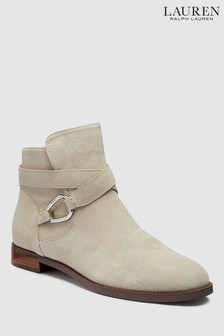 Ralph Lauren Nude Suede Buckle Boot