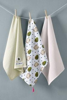 Set of 3 Avocado Tea Towels