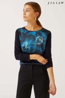 Jigsaw Blue Romantic Floral Silk Front Jumper