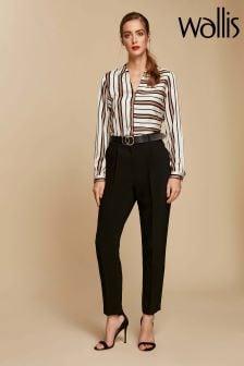Wallis Black/Gold Ring Belted Trouser