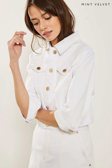 Mint Velvet White Denim Western Jacket