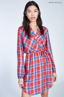 Jack Wills Red Hedley Checked Wrap Shirt Dress