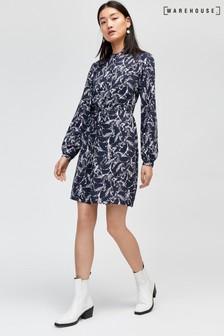 Warehouse Black Horse Print Shirt Dress