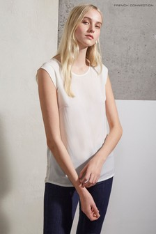 French Connection White Polly Plains Capped Sleeve T-Shirt