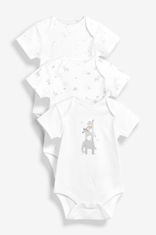 Delicate Animals Short Sleeve Bodysuits Three Pack (0-18mths)