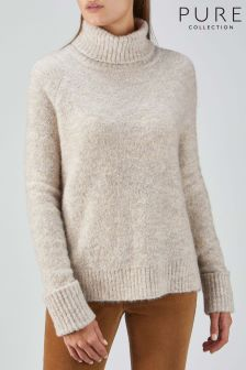 Pure Collection White Bouclé Roll Neck Sweater