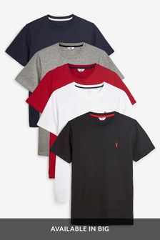 Crew Neck Slim Fit Stag T-Shirts Five Pack