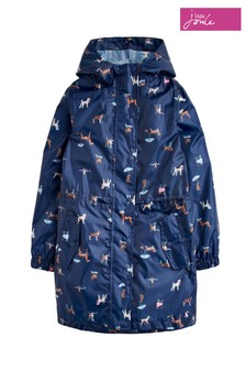 Joules Blue Go-Lightly Girls Long Line Rain Jacket