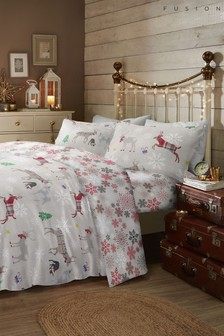 Fusion Exclusive To Next Garland Stags Christmas Brushed Cotton Flannel Duvet Cover And Pillowcase Set