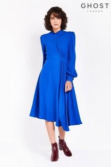 Ghost London Blue Martha High Neck Satin Back Crepe Dress