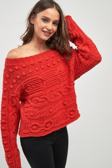 Off Shoulder Bobble Cable Knit Sweater