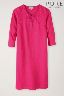 Pure Collection Laundered Linen Tie Neck Dress