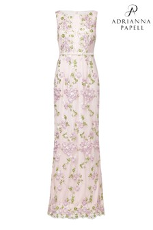 Adrianna Papell Pink Embroidered Tulle Dress