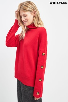 Whistles Red Button Knit Jumper
