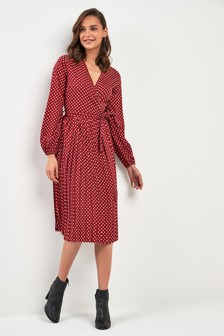 Pleated Spot Midi Dress