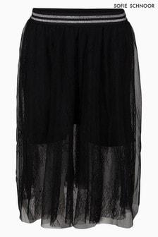 Sofie Schnoor Black Mesh Midi Skirt