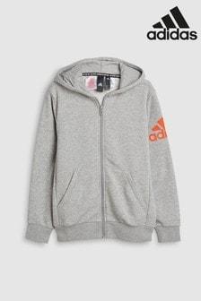 adidas Grey Arm Logo Zip Through Hoody