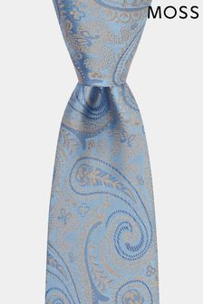 Moss 1851 Sky/Gold Paisley Tie