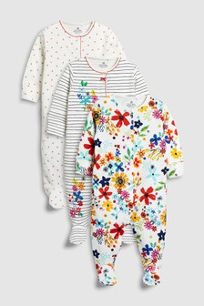 Stripe/Floral Embroidered Sleepsuits Three Pack (0mths-2yrs)