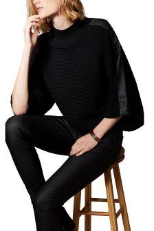 Karen Millen Black Leather Stitch Knit Jumper