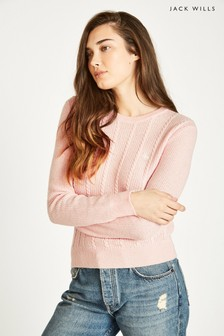 Jack Wills Pink Tinsbury Cable Crew
