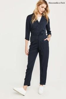 Abercrombie & Fitch Navy Wrap Jumpsuit