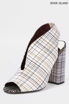River Island Grey Print Curve Vamp Block Heel Shoe Boot