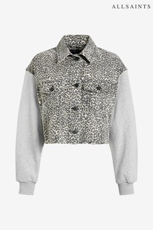 All Saints Leopard Print Anders Denim Combo Jacket