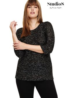Studio 8 Black Megan Sequin Jumper