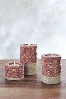 Set of 3 Embossed Tea Lights