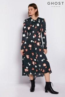 Ghost London Black Printed Ariel Satin Dress